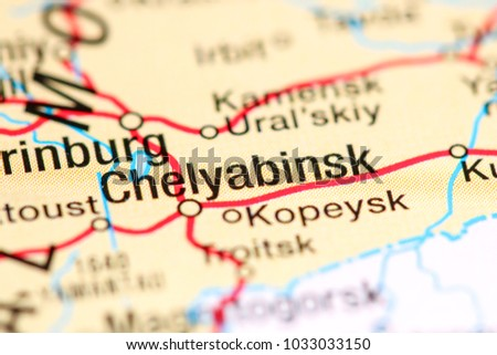 Chelyabinsk Russia On Map Stock Photo 1033033150 Shutterstock