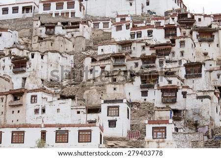 Chemdey gompa, Buddhist monastery in Ladakh, Jammu  Kashmir, India  - stock photo
