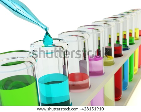 Chemical experiment, chemistry and science concept, laboratory equipment: glass pipette dripping a drop of fluid to one of test tubes with multicolored liquids on white background, 3d illustration