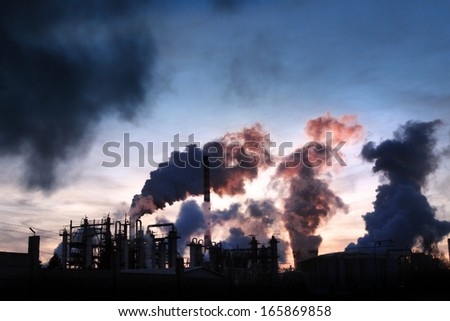 Chemical factory. - stock photo