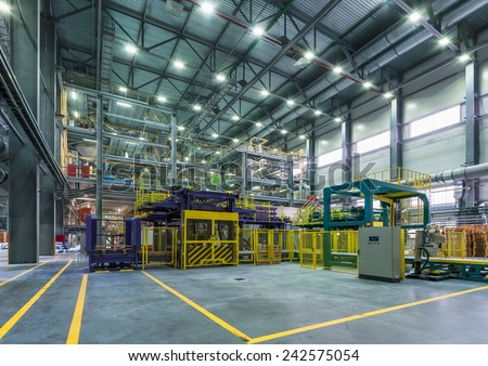 chemical factory. packing area - stock photo