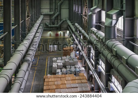 Chemical factory. Packing area (entrepot) - stock photo