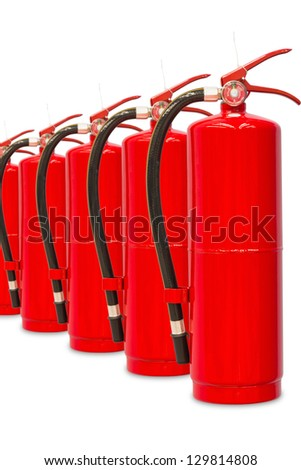 Chemical fire extinguishers isolated on white background, with clipping path, ready for fire fighting - stock photo