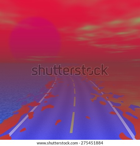 Chemical foggy landscape with asphalt road to nowhere. Cold sun at horizon - stock photo