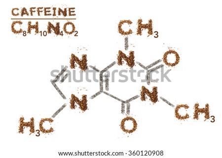 Chemical formula of Caffeine. Mixed media artwork by coffee grain. - stock photo
