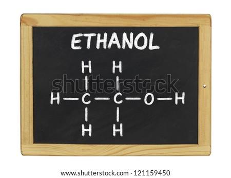chemical formula of ethanol on a blackboard - stock photo