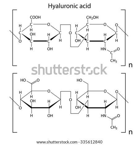 Chemical formula of hyaluronic acid, molecular structure, 2d isolated raster - stock photo