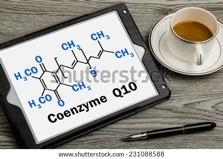 chemical formula  on touch screen background - stock photo