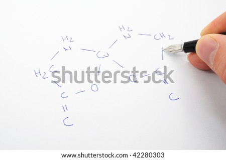 chemical formula with hand and pan ob sheet of paper