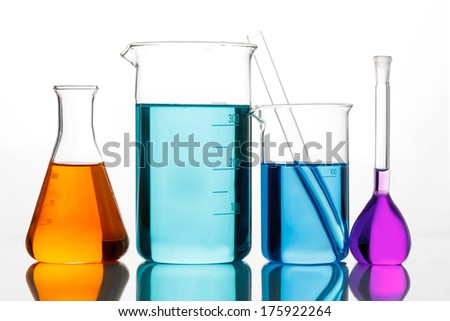 Chemical glassware for experiments - stock photo