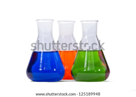 Chemical glassware,  three flasks with orange,green and blue liquid separated