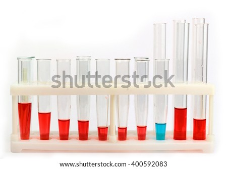 Chemical glassware with colorful liquids