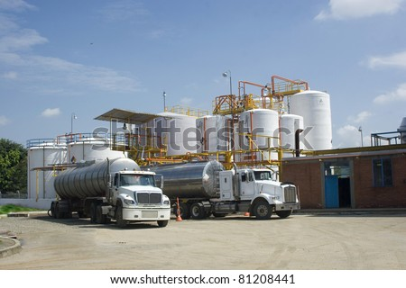 Chemical Industry, Storage Tank And Tanker Truck In Industrial Plant