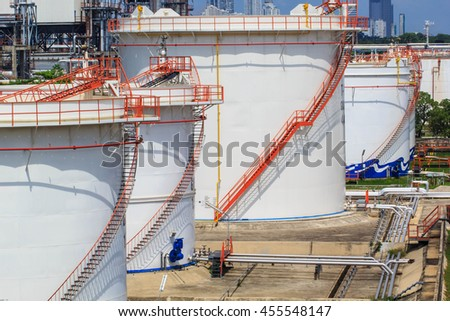 Chemical industry with fuel storage tank white