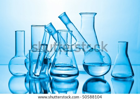 chemical laboratory equipment - stock photo