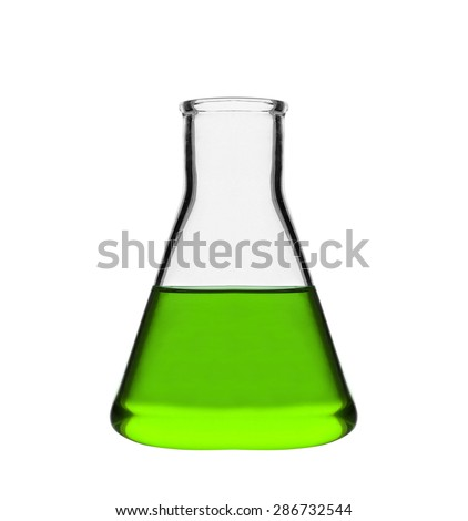 Chemical laboratory flask with green liquid - stock photo
