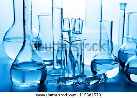 chemical laboratory glassware - stock photo