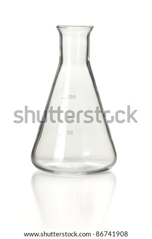 Chemical laboratory glassware, empty 100ml Erlenmeyer flask on reflective white