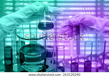 Chemical Laboratory,Hand holding the tube and test flask