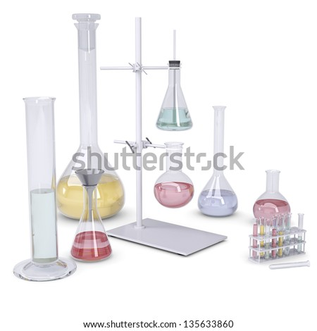 Chemical laboratory. Isolated render on a white background - stock photo
