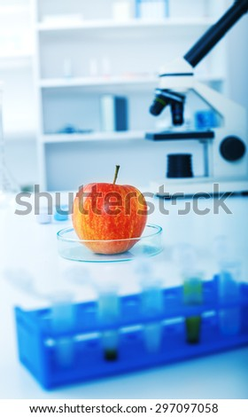 Chemical Laboratory of the Food supply.Food in laboratory, dna modify - stock photo