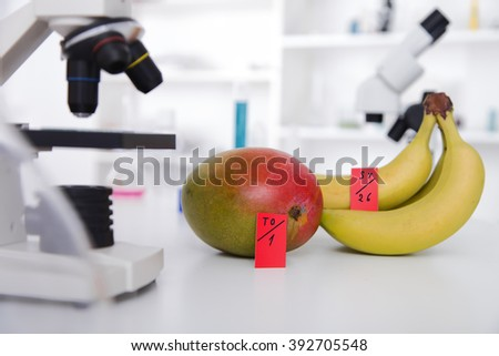Chemical Laboratory of the Food supply . Food in laboratory, dna modify . - stock photo