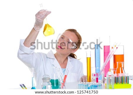 chemical laboratory scientist woman working with glass flask