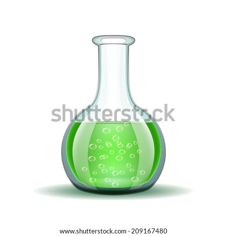Chemical laboratory transparent flask with green liquid isolated on white.