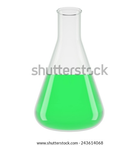 Chemical laboratory transparent flasks with green liquid . High Resolution 3d