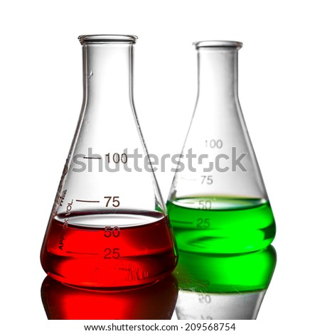 Chemical liquid in flask with reflection on white background
