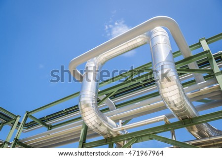 Chemical pipe line transfer on steel structure with blue sky