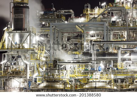 Chemical plant at night, Wloclawek, Poland - stock photo