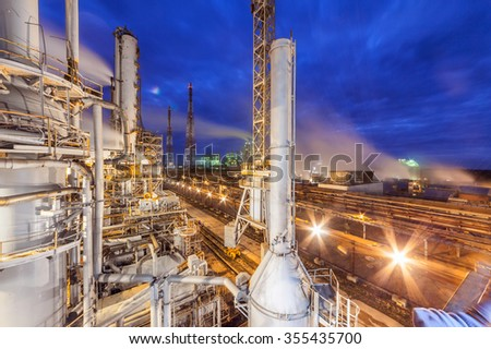 Chemical plant for production of ammonia and nitrogen fertilization on night time.  - stock photo