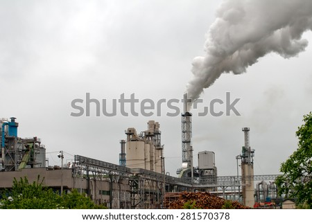 chemical plant for the processing of chipboard of a furniture factory - stock photo