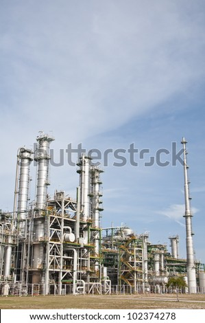 "Chemical plant in summer day with blue sky ""Maptaphut industrial , Rayong provice , Thailand"""