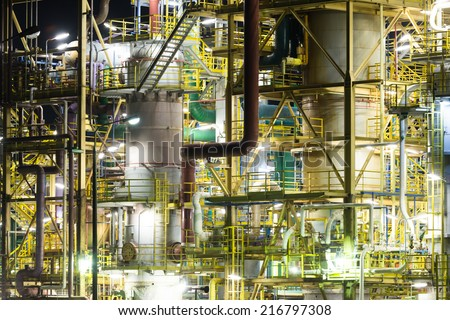 Chemical plant - night scene, Poland - stock photo