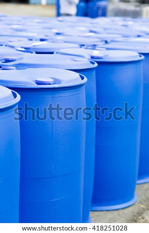 Chemical Plant, Plastic Storage Drums, Big Blue Barrels