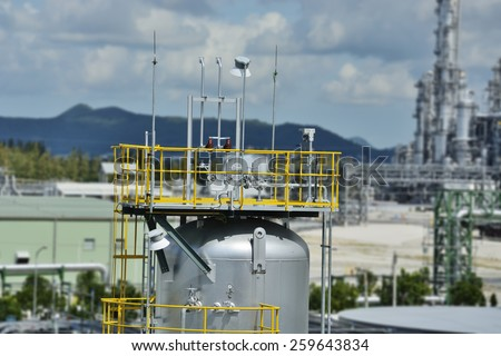 Chemical plant with equipment vessel cylinder. - stock photo