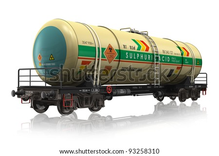 Chemical railroad tank car isolated on white reflective background - stock photo