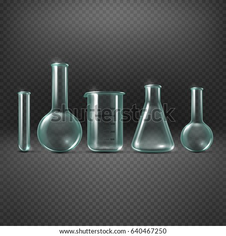 Chemical realistic test tubes set. Beaker glass for analysis and medicine experiment illustration