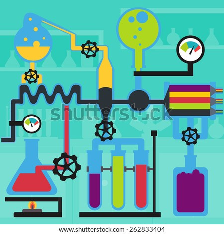 Chemical research in the laboratory, glassware with liquids, flat vector design