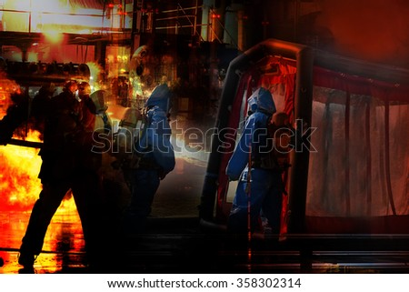 Chemical spills and Firefighters emergency response. - stock photo