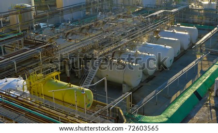 Chemical storage tanks and associated piping