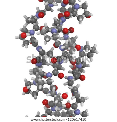 Chemical structure of a collagen model protein. Collagen adopts a characteristic triple helix structure. Collagen is a major component of many tissues, including skin, bone and cartilage. - stock photo