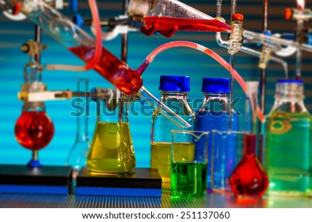 Chemical synthesis of magnetic nanoparticles - stock photo