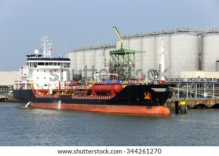 Chemical tanker moored in the Port of Rotterdam. - stock photo