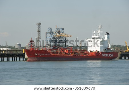 CHEMICAL TANKER ON BERTH IN SOUTHAMPTON WATER UK - CIRCA 2013 - Fawley Refinery Southampton Water England UK