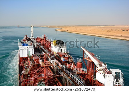 chemical tanker passes through the Suez Canal. Egypt - stock photo