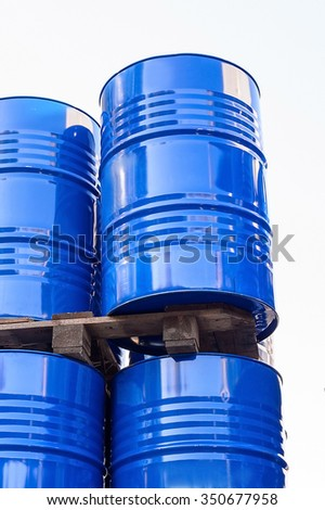 Chemical tanks stored at the storage of waste isolated on white background. - stock photo