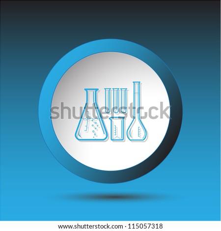 Chemical test tubes. Plastic button. Raster illustration. - stock photo